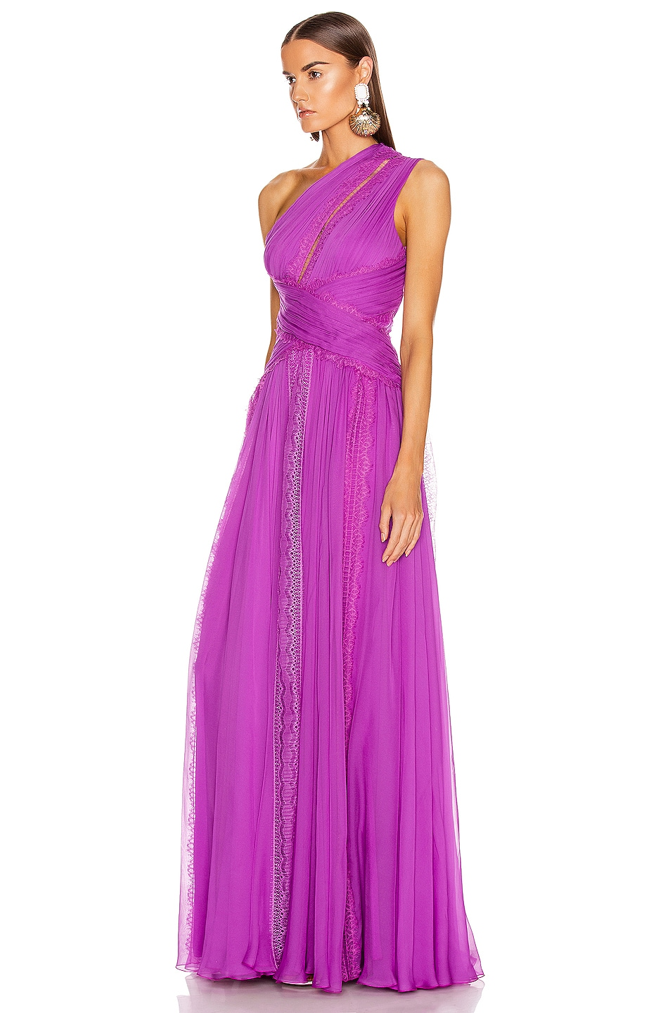 Image 3 of Zuhair Murad Silk Chiffon Long Dress in Hyacinth Violet