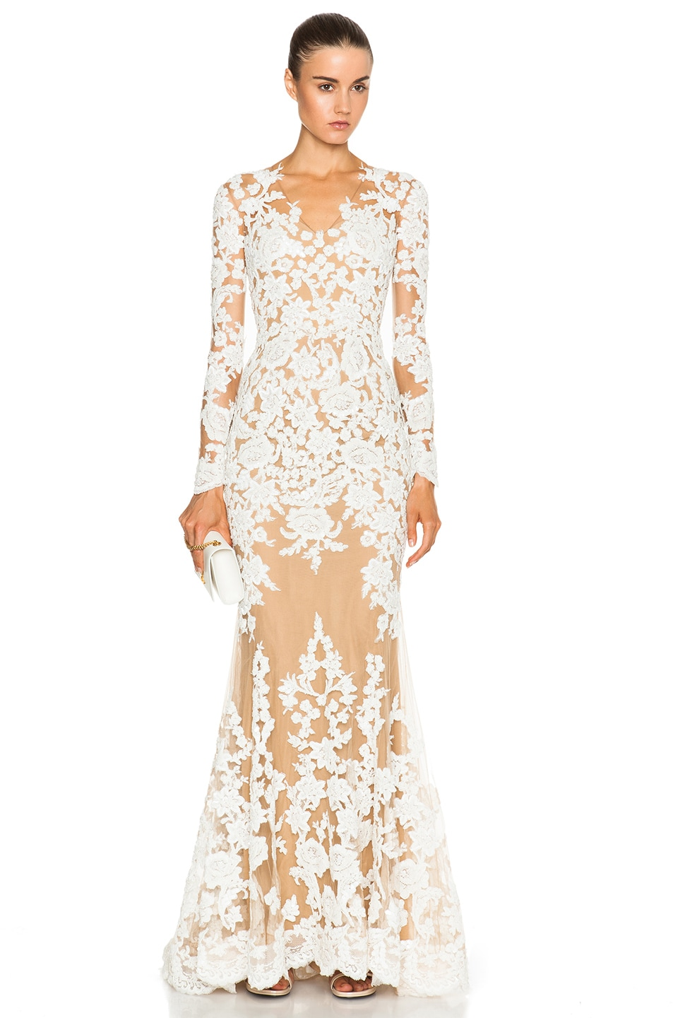 Image 1 of Zuhair Murad Lace Mermaid Gown in Egret & Nude