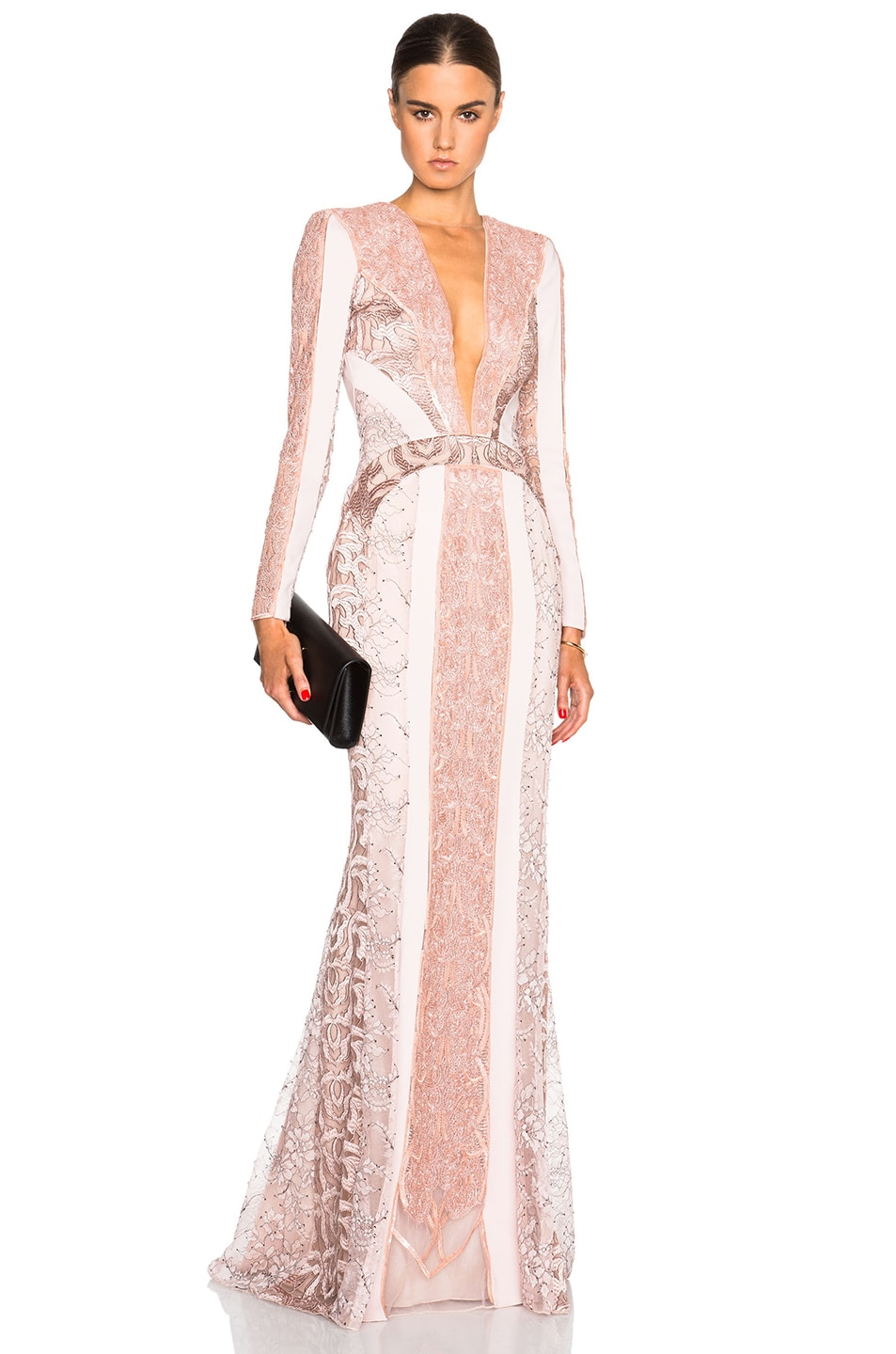 Image 1 of Zuhair Murad Lace Panel & Beading Gown in Rose