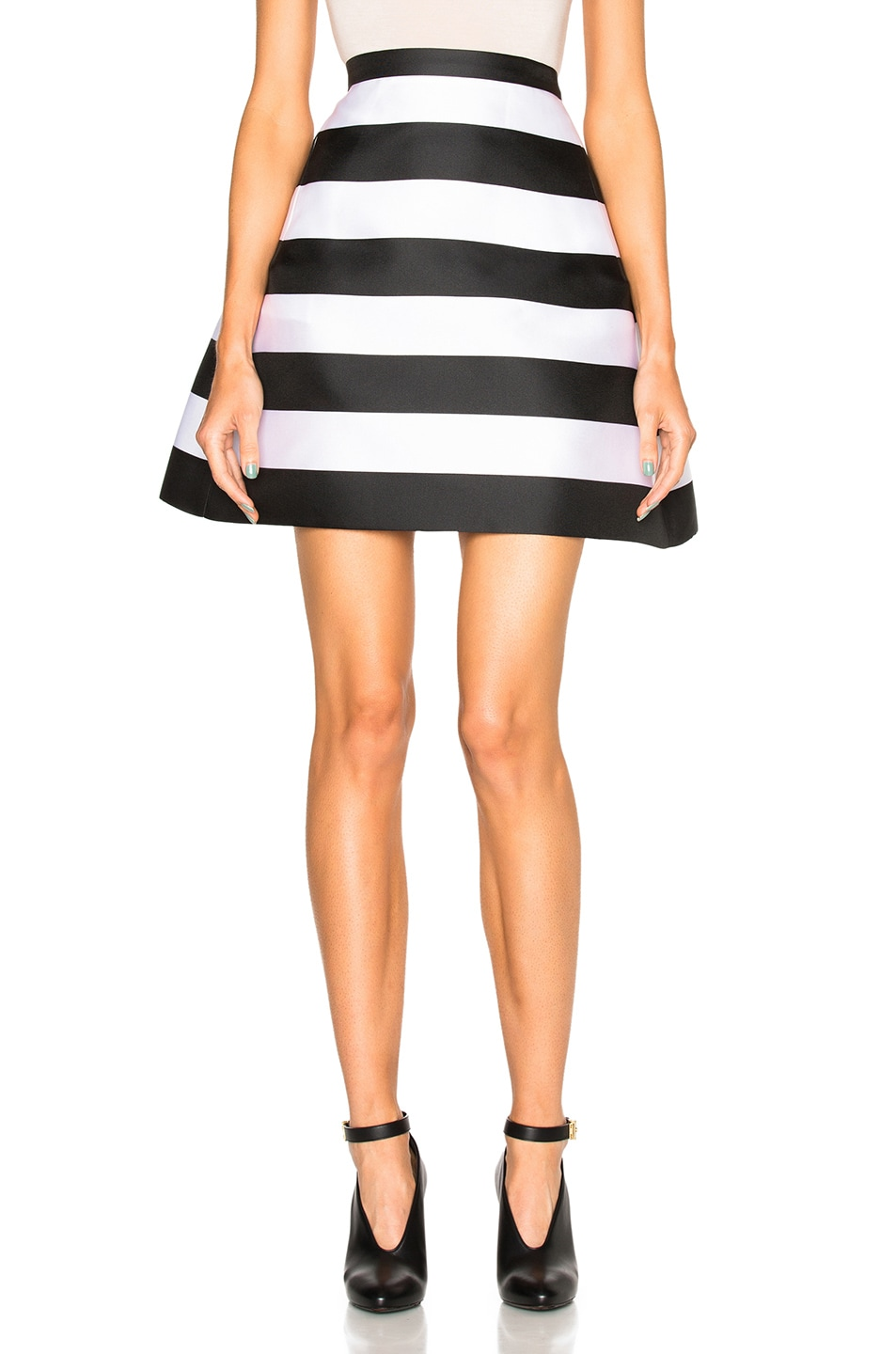 Image 1 of Zuhair Murad Stripe Scuba Skirt in Black & White