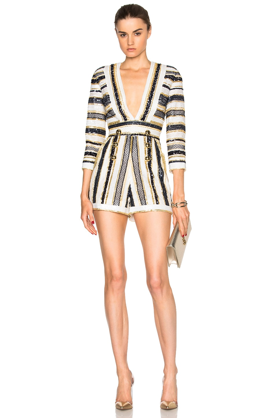 Image 1 of Zuhair Murad Embroidered Tulle Romper in Gold, Navy & White