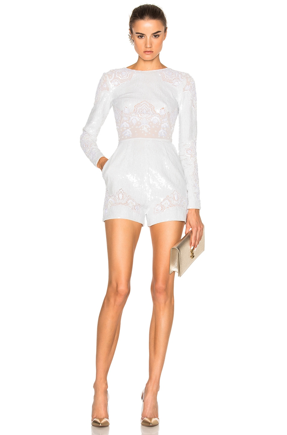 Image 1 of Zuhair Murad Long Sleeve Embroidered Romper in Bright White