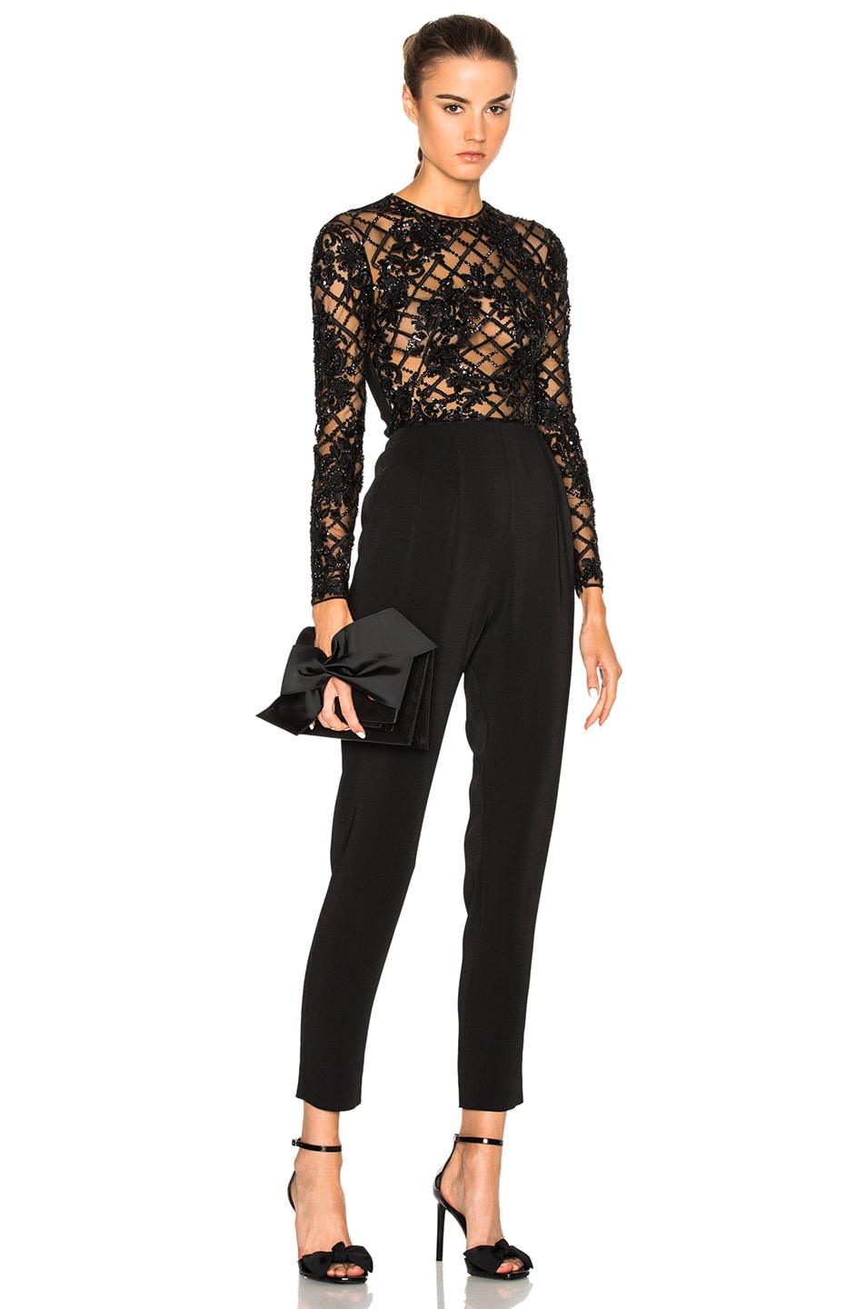 Image 1 of Zuhair Murad Embroidered Jumpsuit in Black