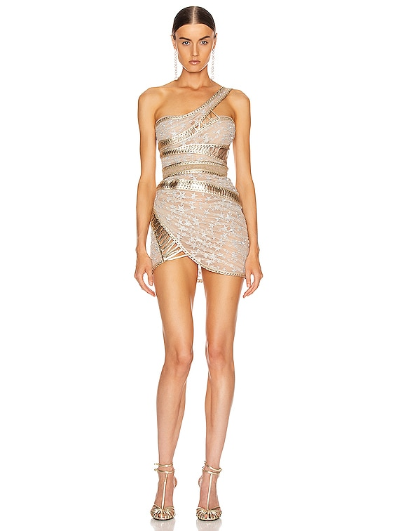 One Shoulder Corset Dress in Silver & Gold