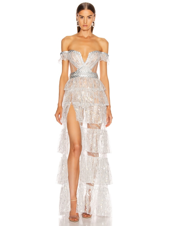 French Lace Layered Gown in Silver Iridescent