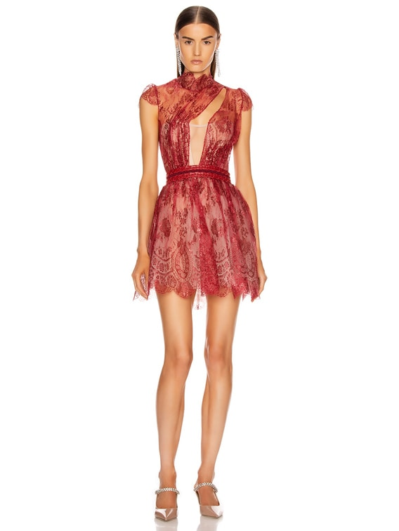 French Lace Mini Dress in Red Iridescent