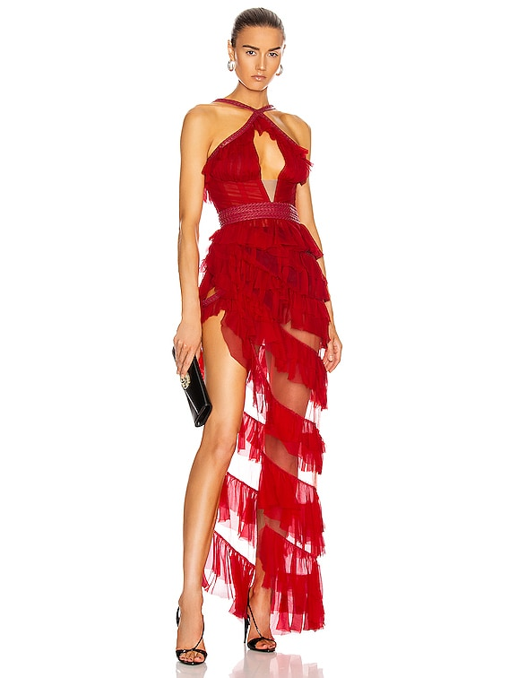 Asymmetric Ruffle Bustier Dress in Red