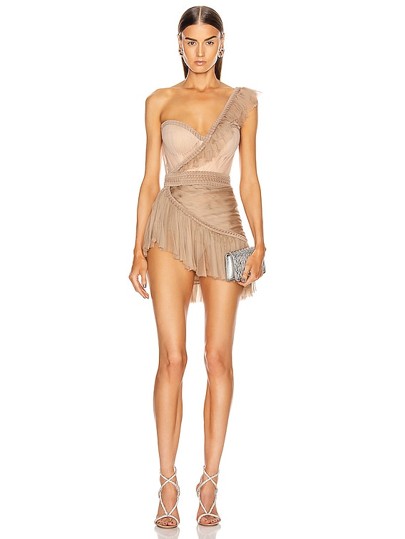 One Shoulder Asymmetric Bustier Mini Dress in Nude