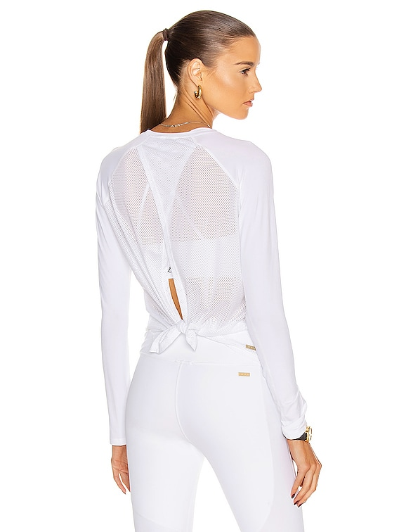 Tie Back Long Sleeve Top in White