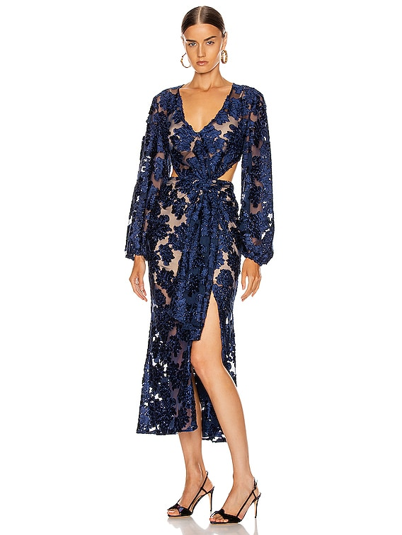 Magic Moonlight Midi Knot Dress in Indigo