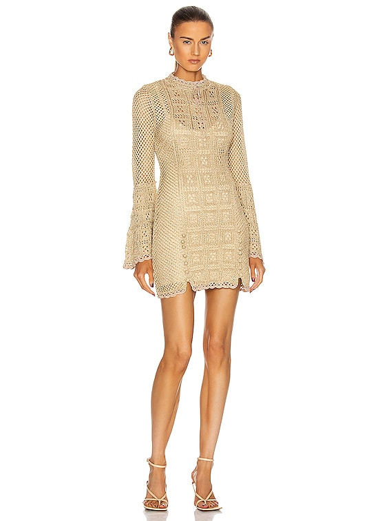 Champagne Coast Mini Dress in Gold