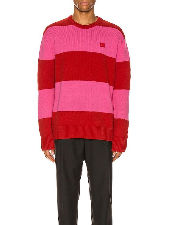Stripe Sweater in Red & Bubblegum Pink