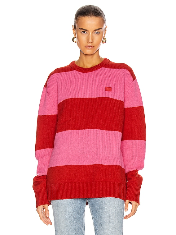 Stripe Sweater in Red & Bubblegum Pink