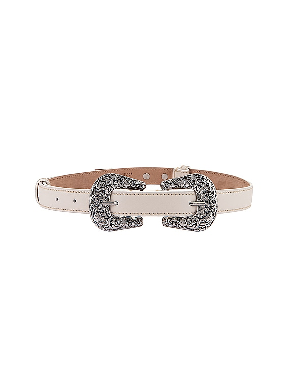 Double Buckle Belt in White