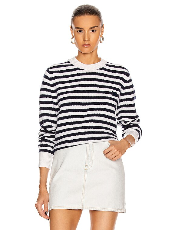 Kalon Stripe Face Sweater in Navy & White