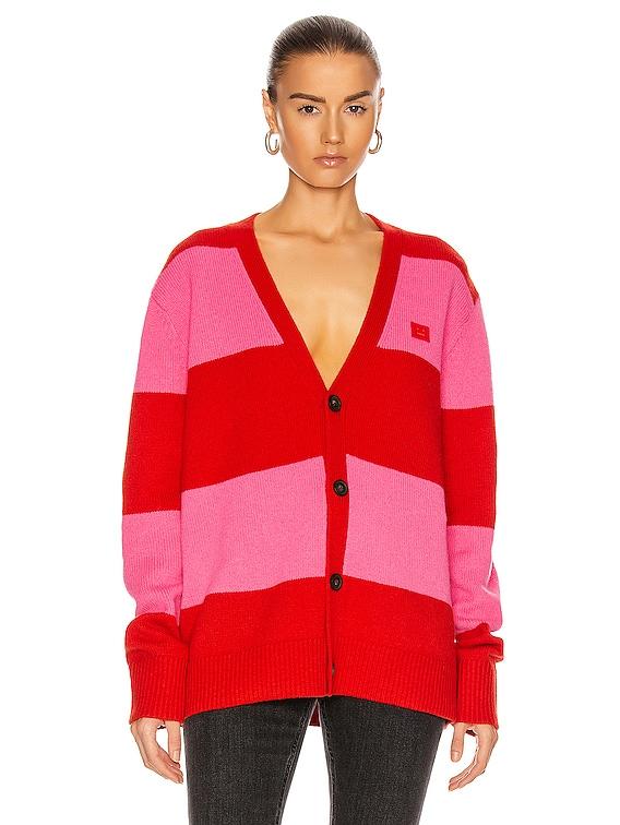 Kimano Block Stripe Cardigan in Red & Bubblegum Pink