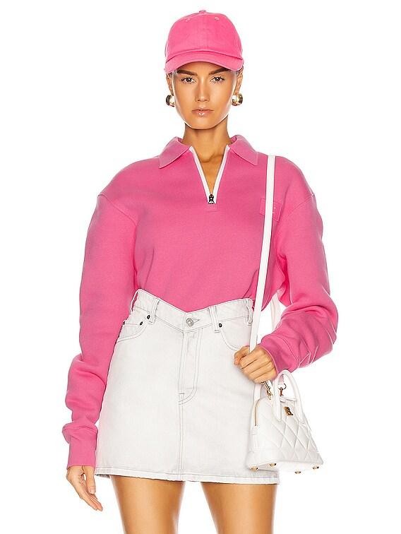 Ferd Face Half Zip Sweatshirt in Bubblegum Pink