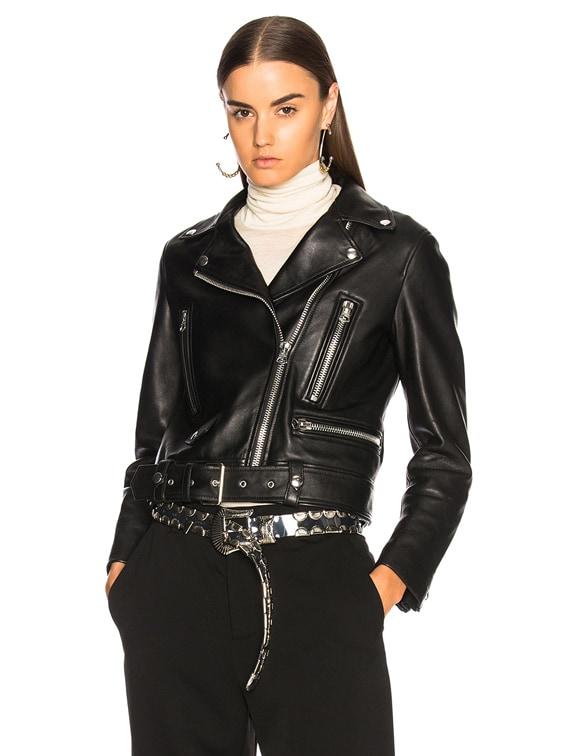 Mock Leather Jacket in Black
