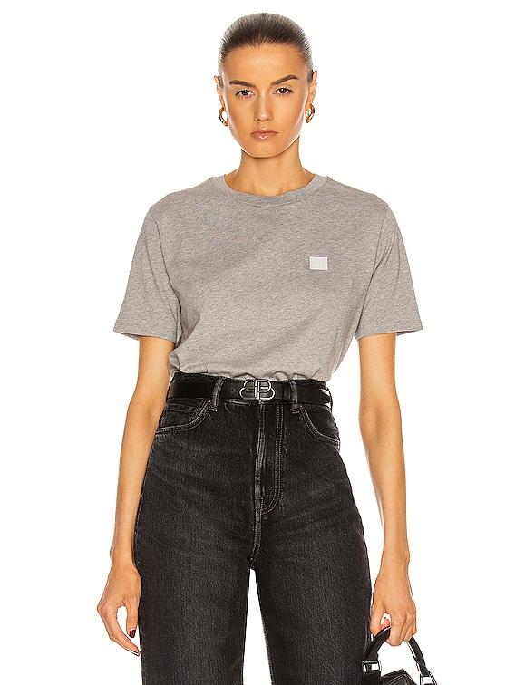 Face T Shirt in Light Grey Melange