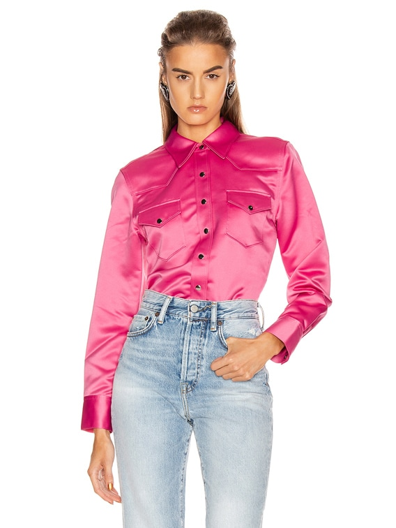 Bla Konst 2002 Satin Shirt in Bright Pink