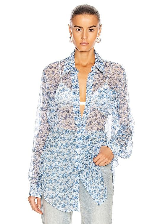 Chiffon Shirt in Blue & White