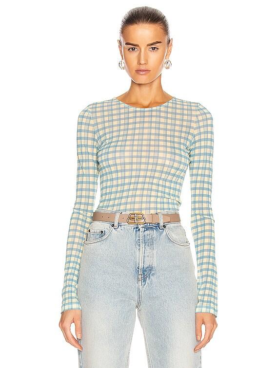 Plaid Long Sleeve T-Shirt in Blue