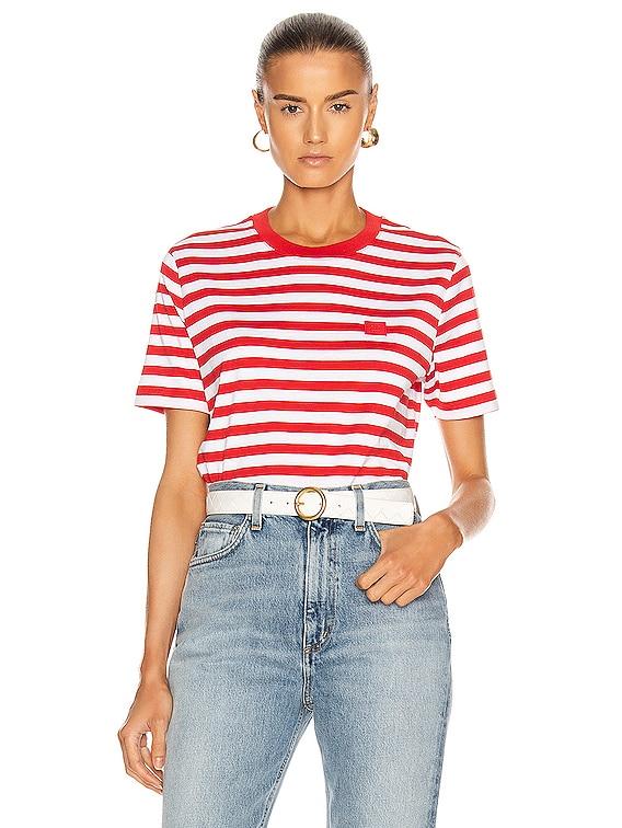 Ellison Stripe Face T-Shirt in Cherry Red