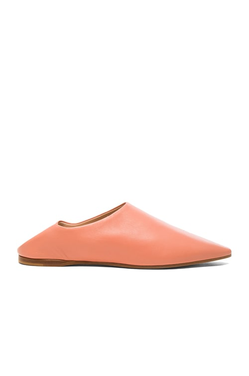 Leather Amina Babouche Slippers in Pink