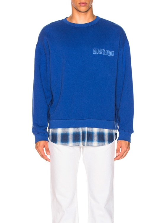 Crewneck With Shirt Tail in Blue Chrome