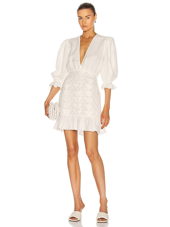 Linen Puff-Sleeves Short Dress With Application in Off White