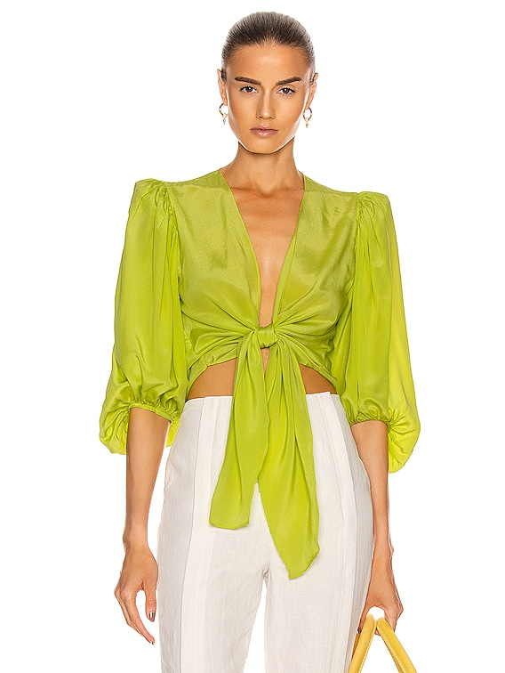 Solid Shirt With Voluminous Sleeves in Yellow