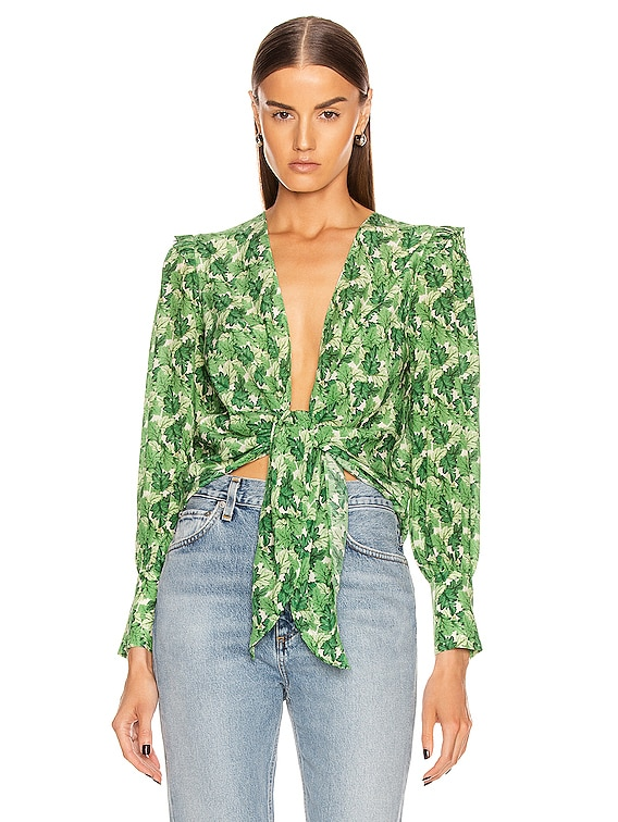 Dahlia Shirt With Voluminous Sleeves in Green