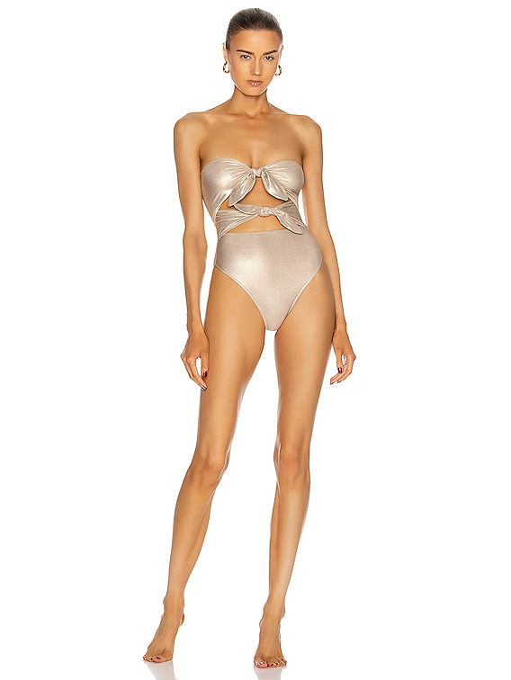 Metallic Strapless High-Leg Swimsuit With Double Knot in Golden