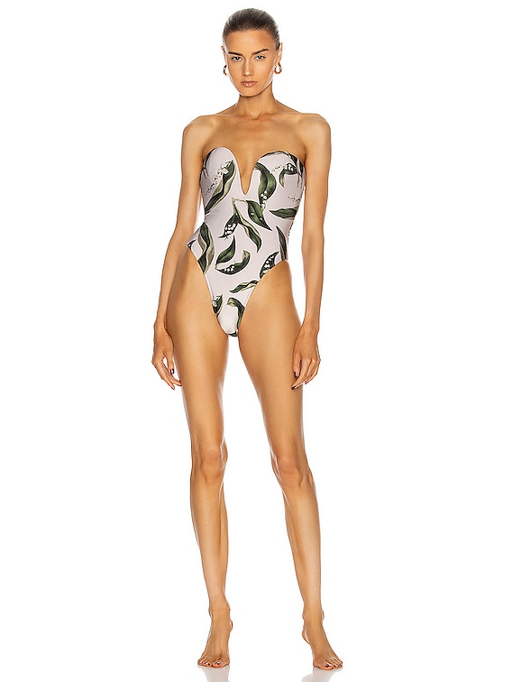 Muguet Foliage V-Neck Swimsuit With Belt in Off White