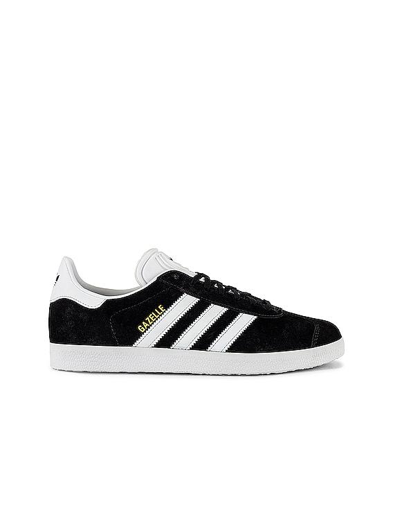 Gazelle Foundation Sneaker in Black & White & Gold Metallic