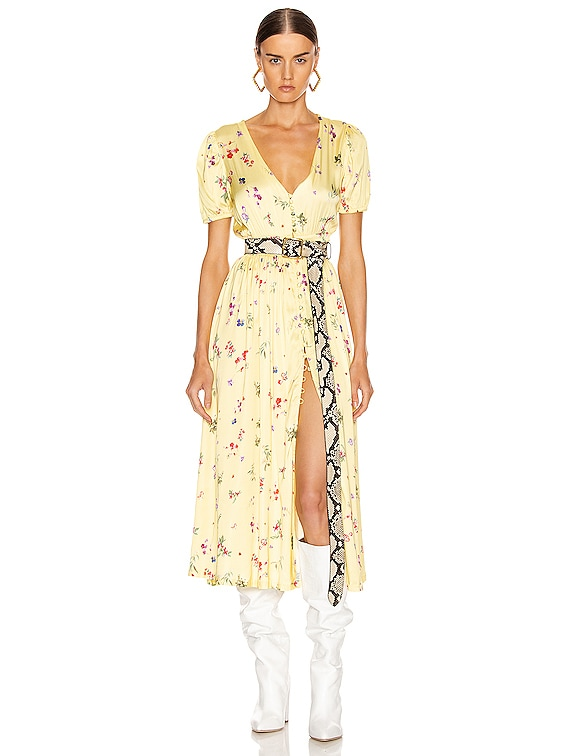 Cassandra Midi Dress in Small Floral Yellow