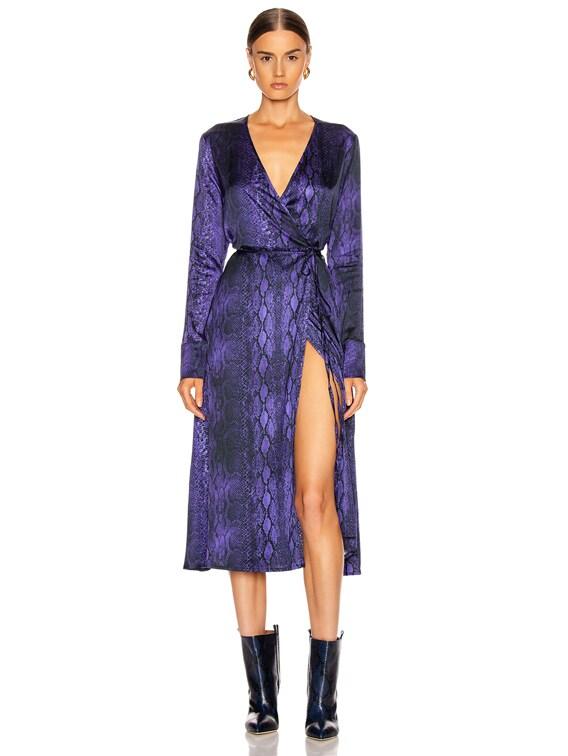 Beverly Wrap Dress in Purple Python