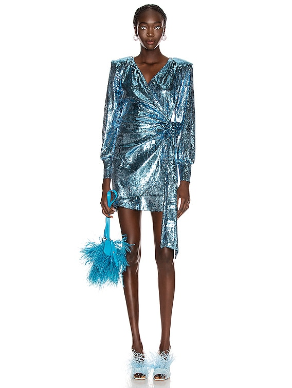 Carly Sequins Wrap Mini Dress in Blue Jeans