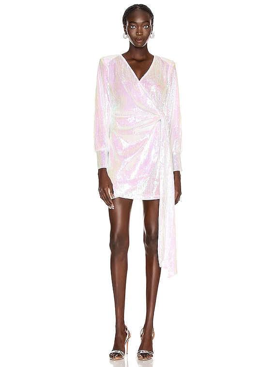 Carly Sequins Wrap Mini Dress in Hologram