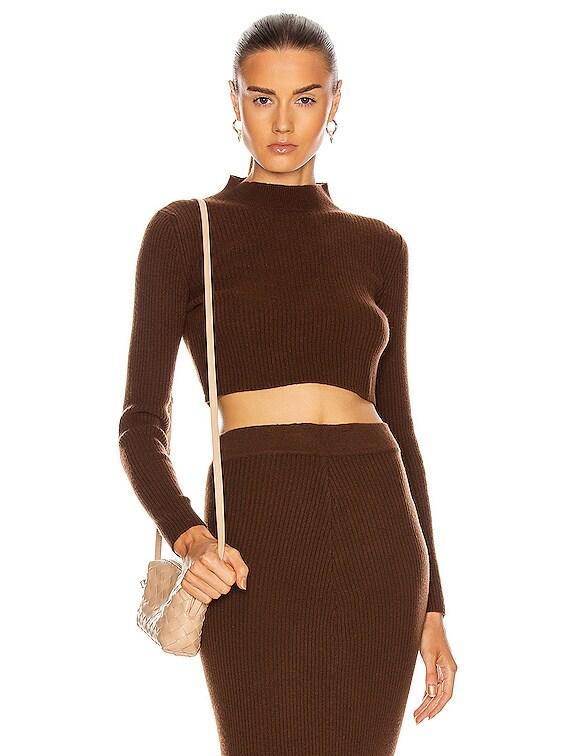 Enny Crop Sweater in Dark Brown