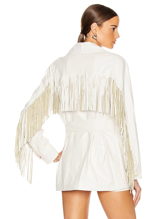Cher Faux Leather Fringe Jacket in White