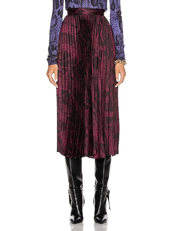 Becky Midi Skirt in Burgundy Snake