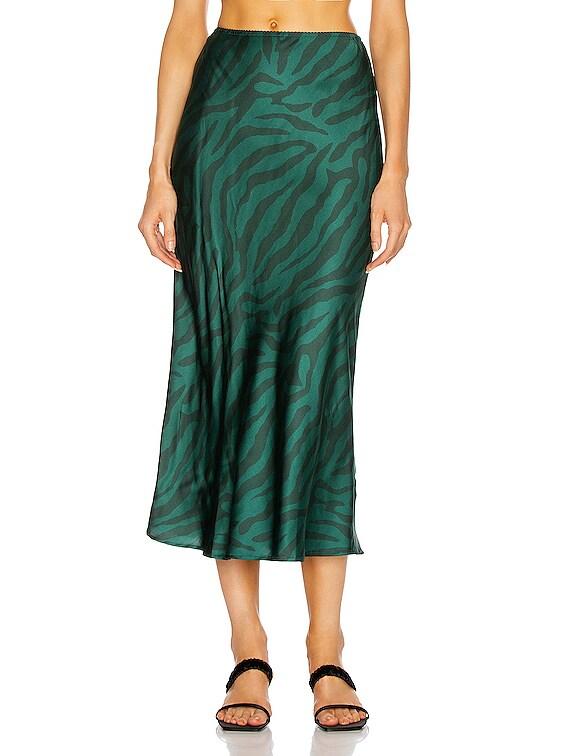 Bella Midi Skirt in Green Zebra