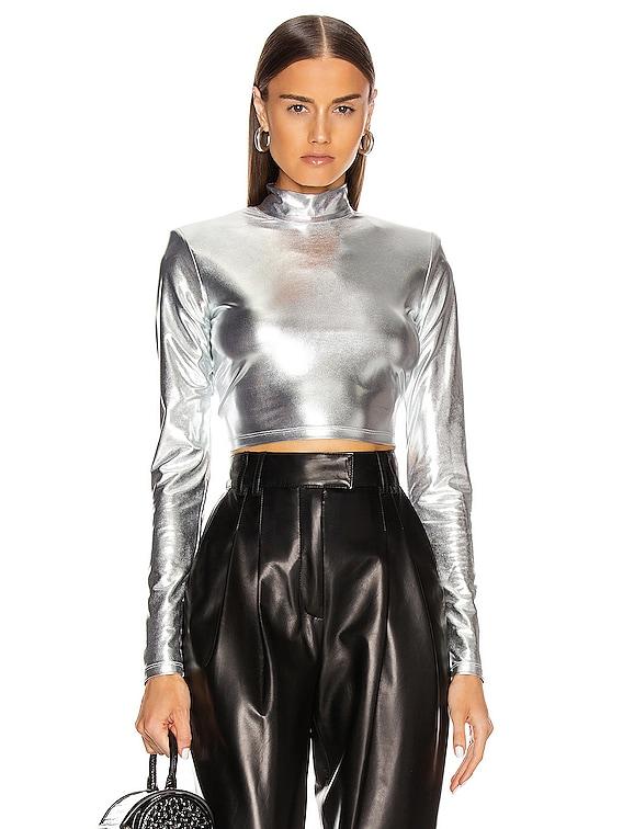 Estelle Crop Top in Silver Metallic