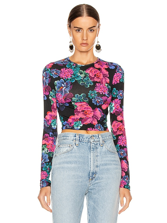 Coco Crop Top in Floral Multi Black