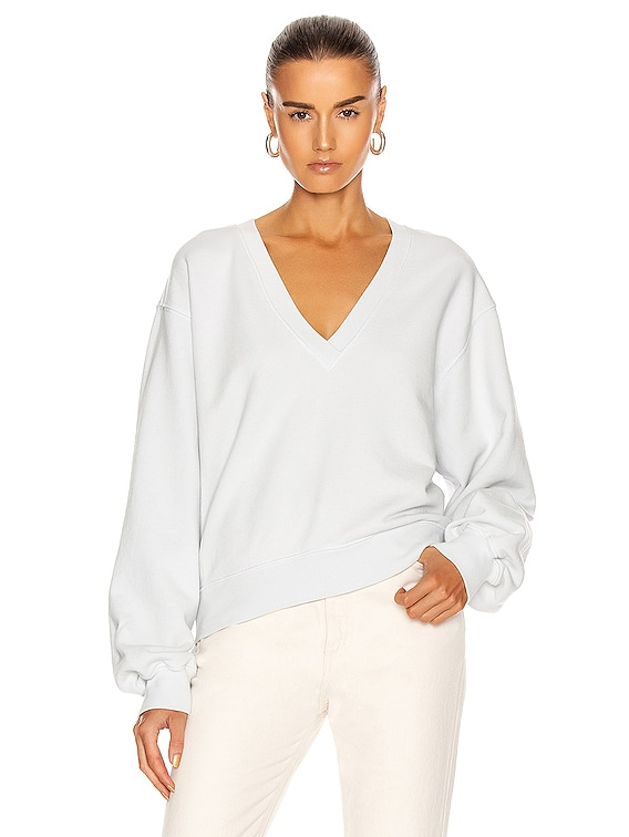 V Neck Balloon Sleeve Sweatshirt in Cascade