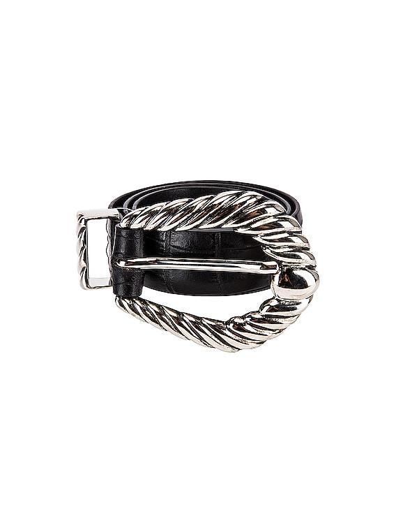 Leather Buckle Belt in Fantasy Black