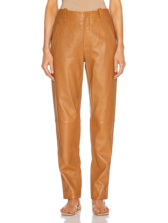 Leather Skinny Pant in Brown