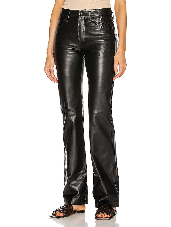 Leather Straight Pant in Black