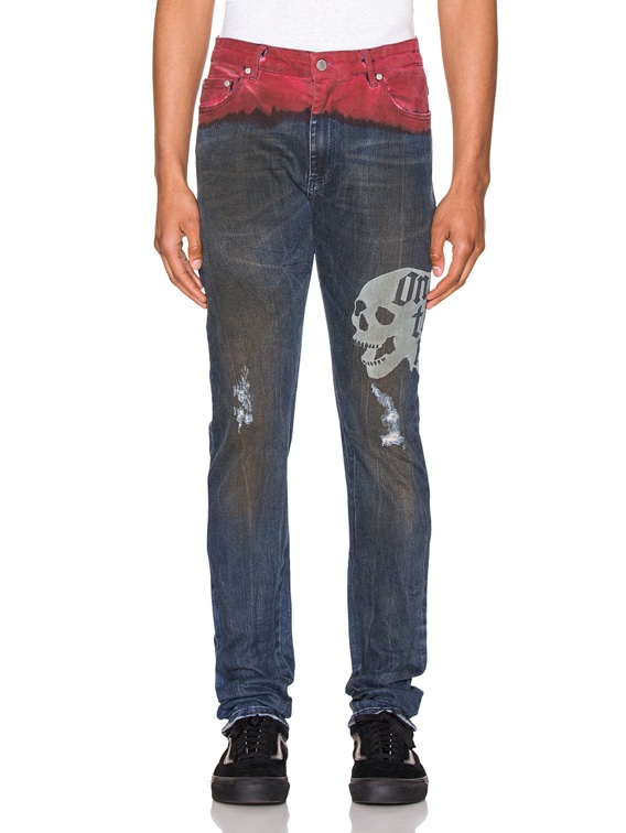 Hold Etched Dip Dyed Jean in Indigo & Red